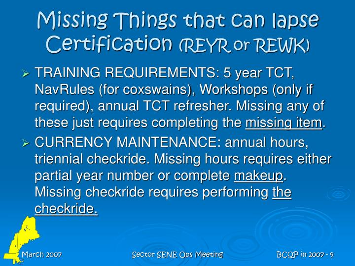 Missing Things that can lapse Certification