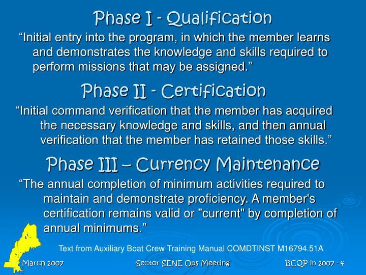 Phase I - Qualification