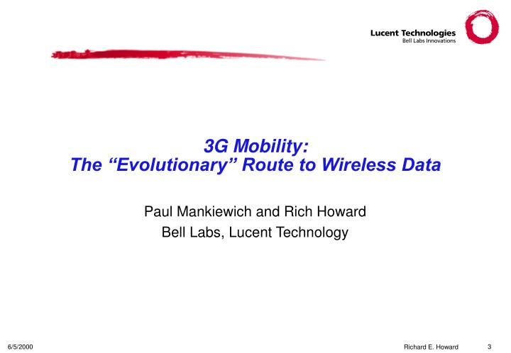 3g mobility the evolutionary route to wireless data