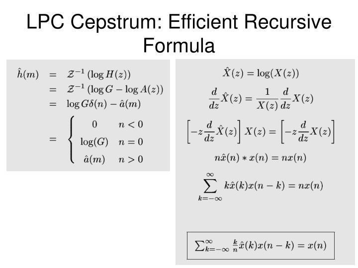 LPC Cepstrum: Efficient Recursive Formula