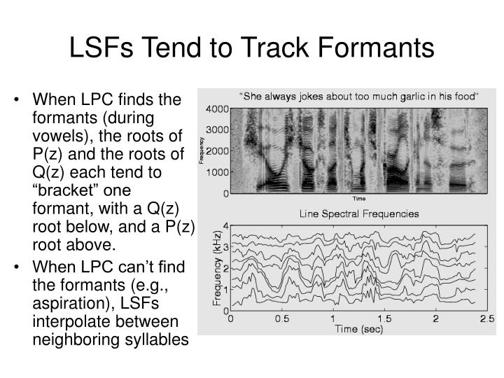 LSFs Tend to Track Formants