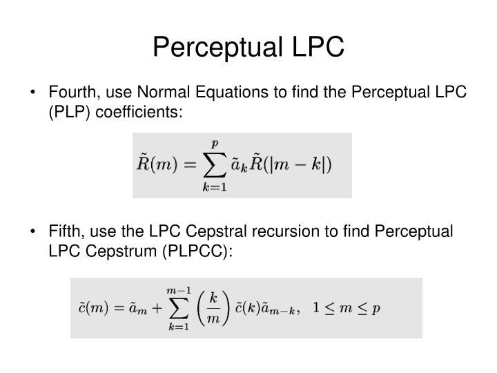 Perceptual LPC