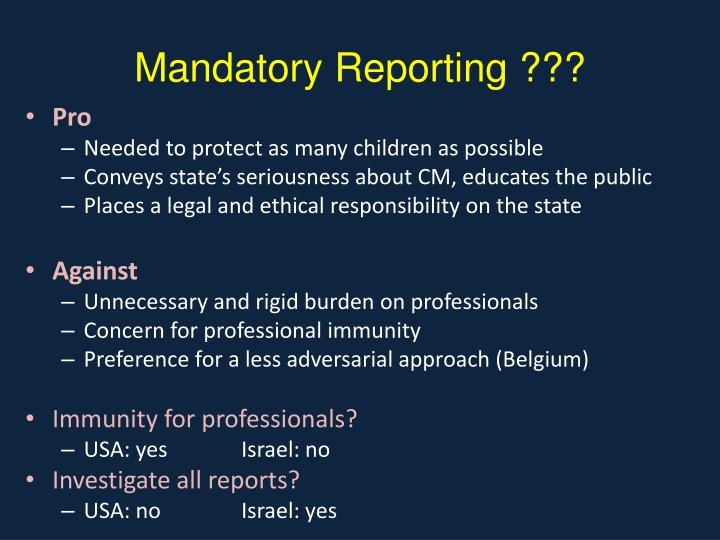 Mandatory Reporting ???