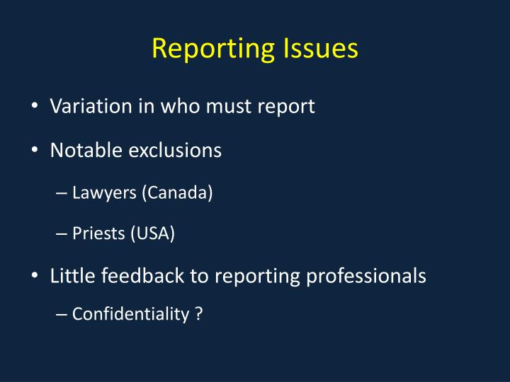 Reporting Issues