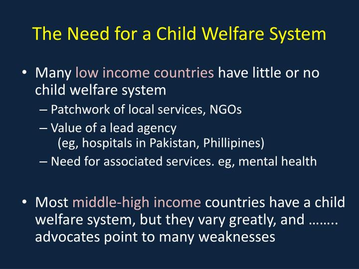 The Need for a Child Welfare System