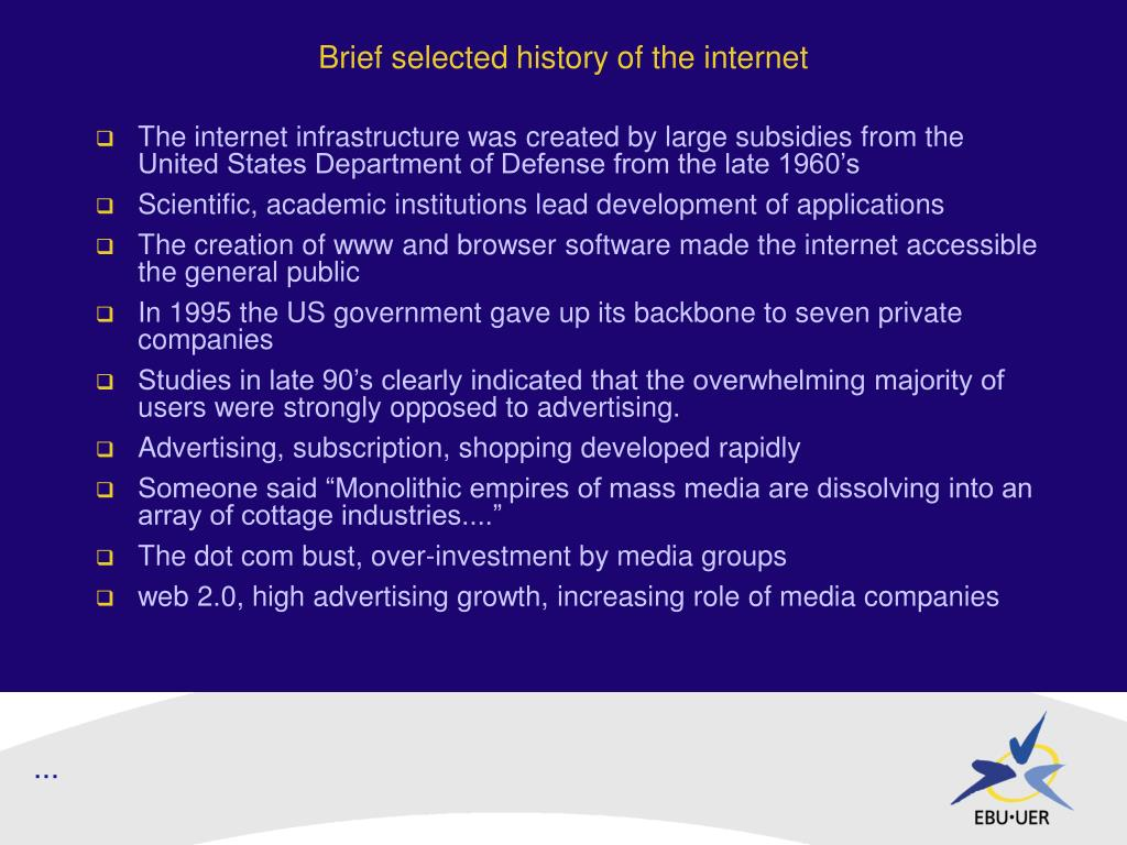 Brief selected history of the internet