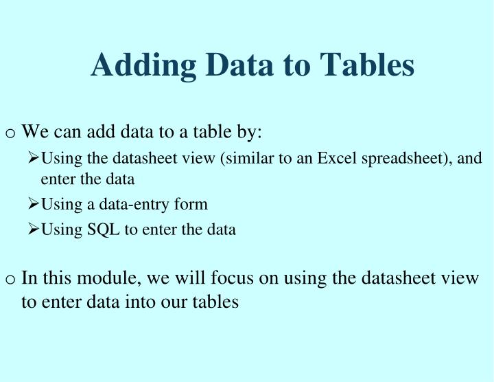 Adding Data to Tables