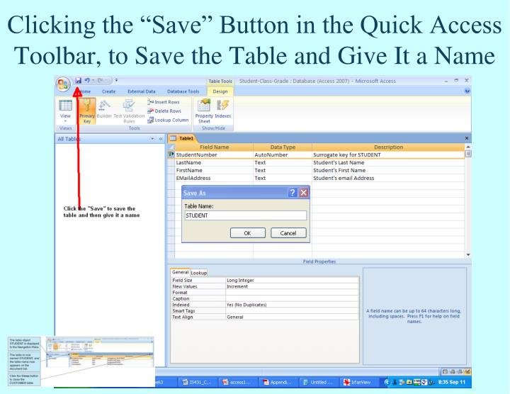 "Clicking the ""Save"" Button in the Quick Access Toolbar, to Save the Table and Give It a Name"