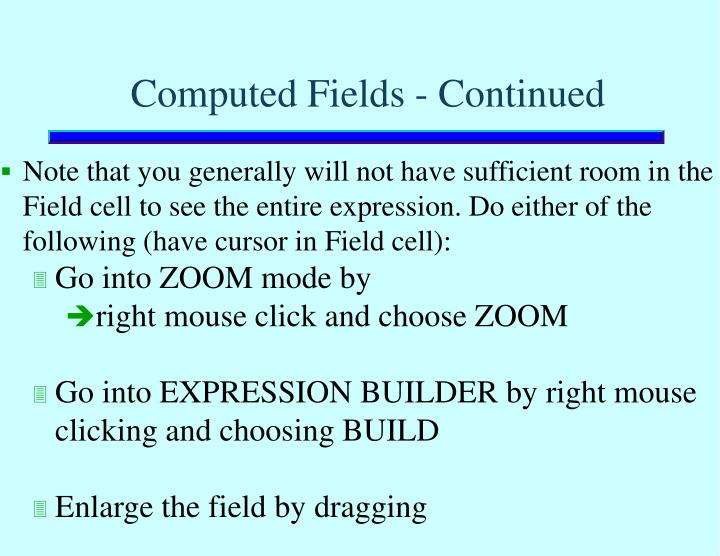 Computed Fields - Continued