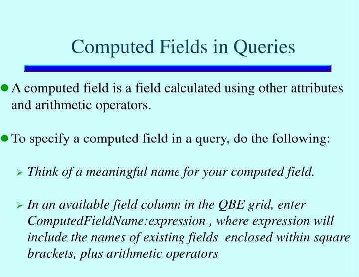Computed Fields in Queries