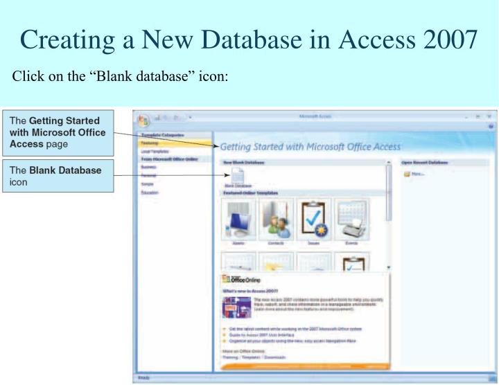 Creating a New Database in Access 2007