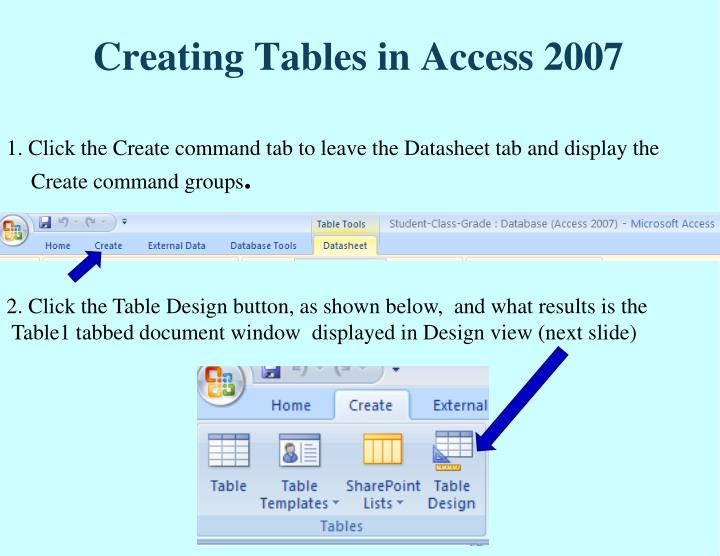 Creating Tables in Access 2007