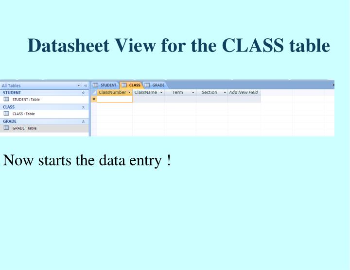 Datasheet View for the CLASS table