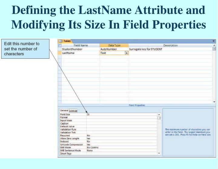 Defining the LastName Attribute and Modifying Its Size In Field Properties