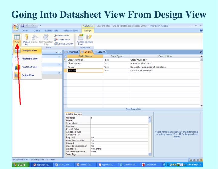 Going Into Datasheet View From Design View