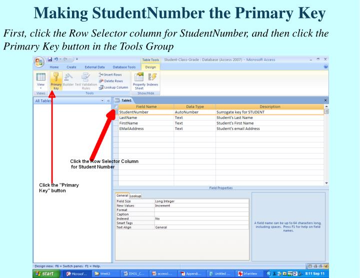 Making StudentNumber the Primary Key