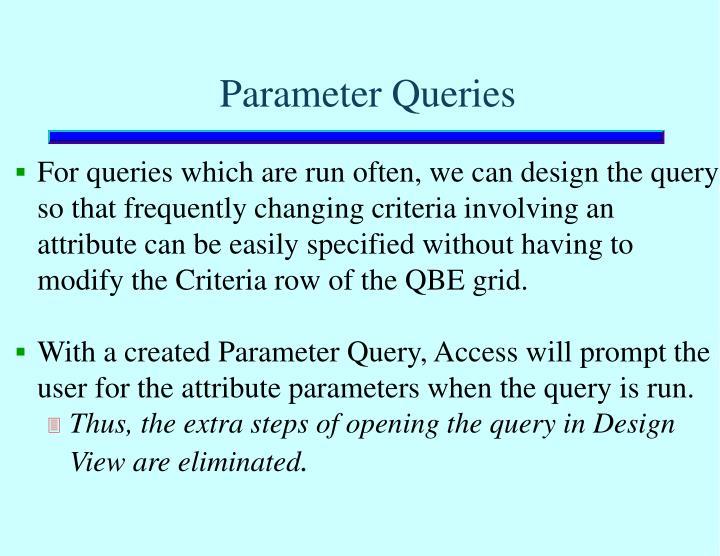 Parameter Queries
