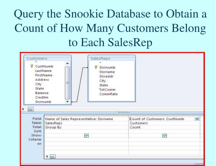 Query the Snookie Database to Obtain a Count of How Many Customers Belong to Each SalesRep