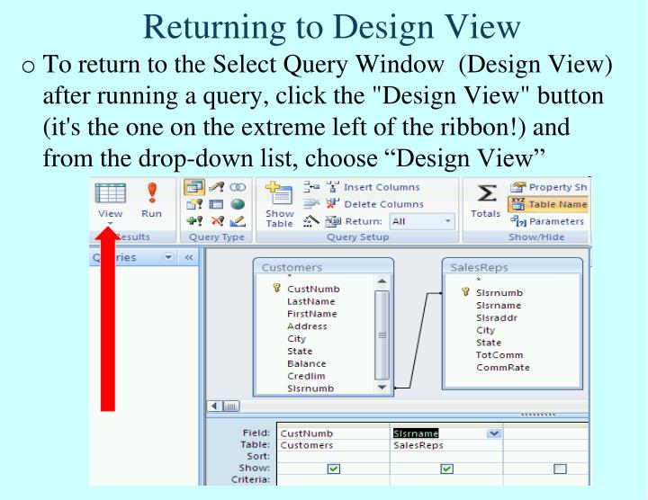 Returning to Design View