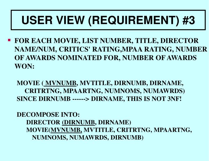 FOR EACH MOVIE, LIST NUMBER, TITLE, DIRECTOR NAME/NUM, CRITICS' RATING,MPAA RATING, NUMBER OF AWARDS NOMINATED FOR, NUMBER OF AWARDS WON: