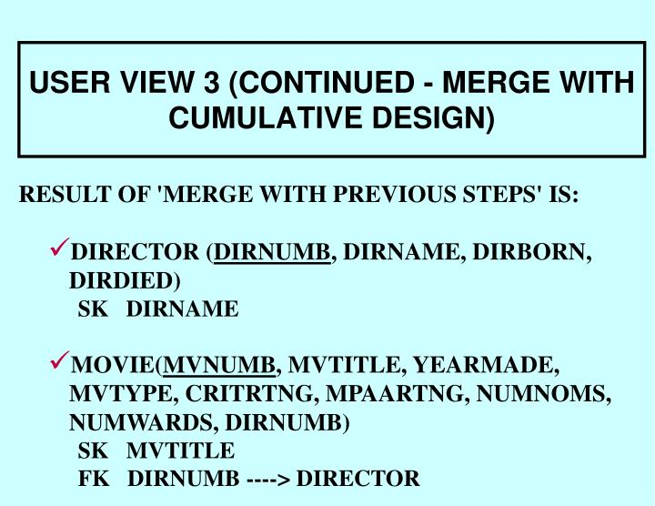 USER VIEW 3 (CONTINUED - MERGE WITH CUMULATIVE DESIGN)