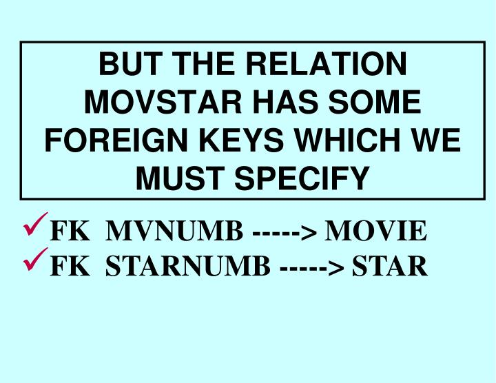 BUT THE RELATION MOVSTAR HAS SOME FOREIGN KEYS WHICH WE MUST SPECIFY