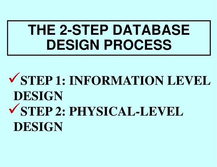 THE 2-STEP DATABASE DESIGN PROCESS