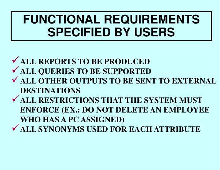 FUNCTIONAL REQUIREMENTS SPECIFIED BY USERS