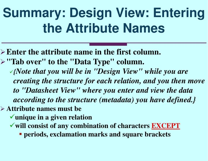 Enter the attribute name in the first column.