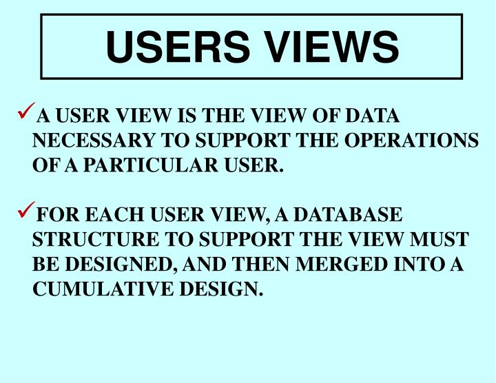 A USER VIEW IS THE VIEW OF DATA NECESSARY TO SUPPORT THE OPERATIONS OF A PARTICULAR USER.