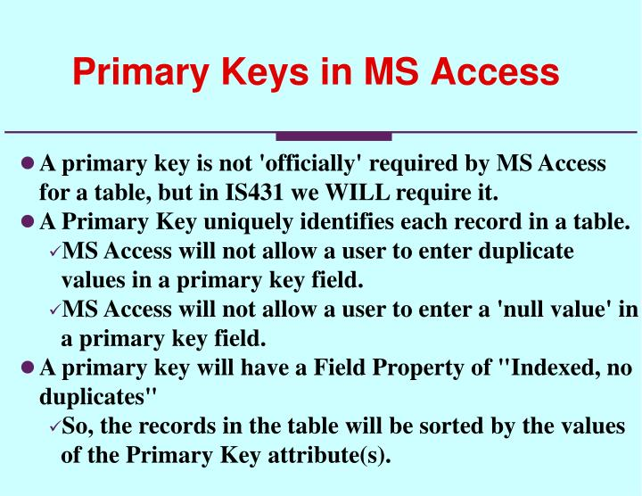 Primary Keys in MS Access