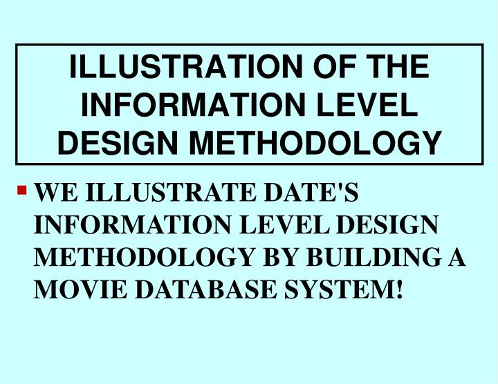 ILLUSTRATION OF THE INFORMATION LEVEL DESIGN METHODOLOGY