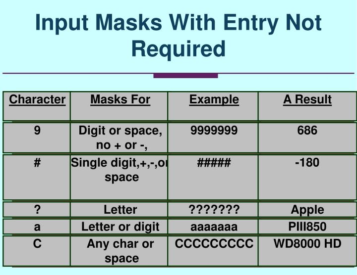 Input Masks With Entry Not Required
