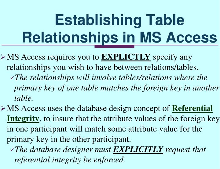 Establishing Table Relationships in MS Access