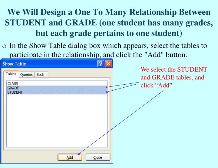 We Will Design a One To Many Relationship Between STUDENT and GRADE (one student has many grades, but each grade pertains to one student)