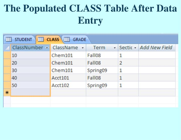The Populated CLASS Table After Data Entry