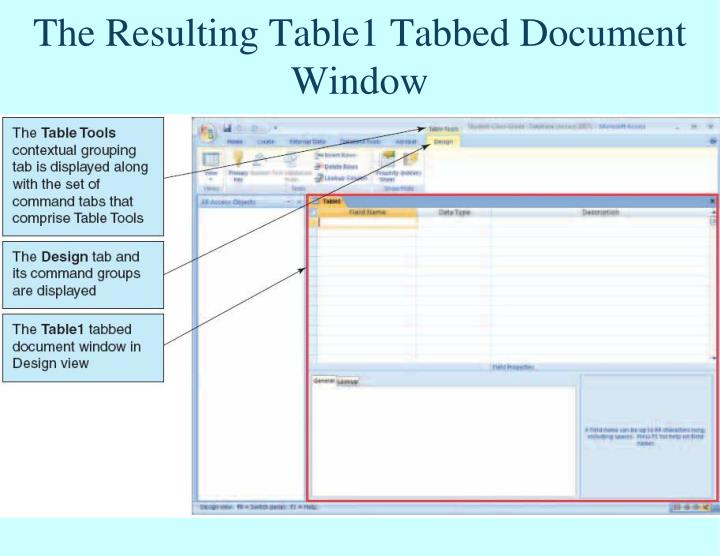 The Resulting Table1 Tabbed Document Window