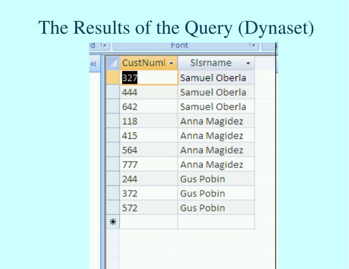The Results of the Query (