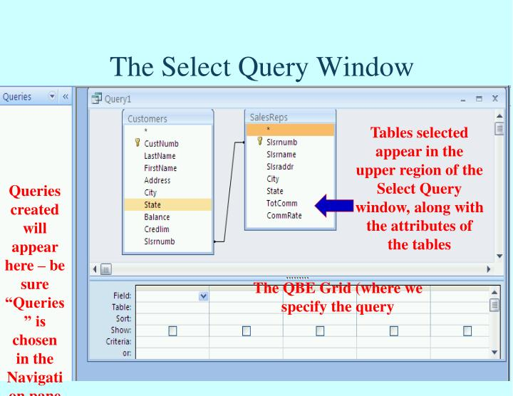 The Select Query Window