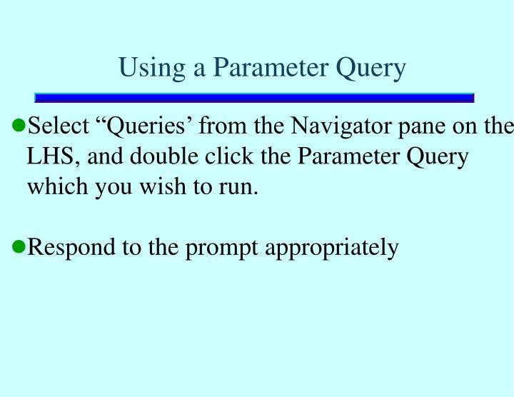 Using a Parameter Query