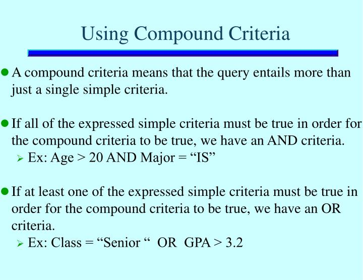 Using Compound Criteria