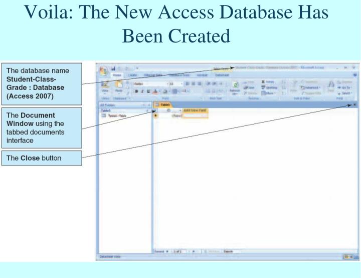 Voila: The New Access Database Has Been Created