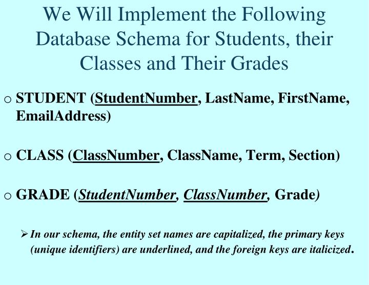 We Will Implement the Following Database Schema for Students, their Classes and Their Grades