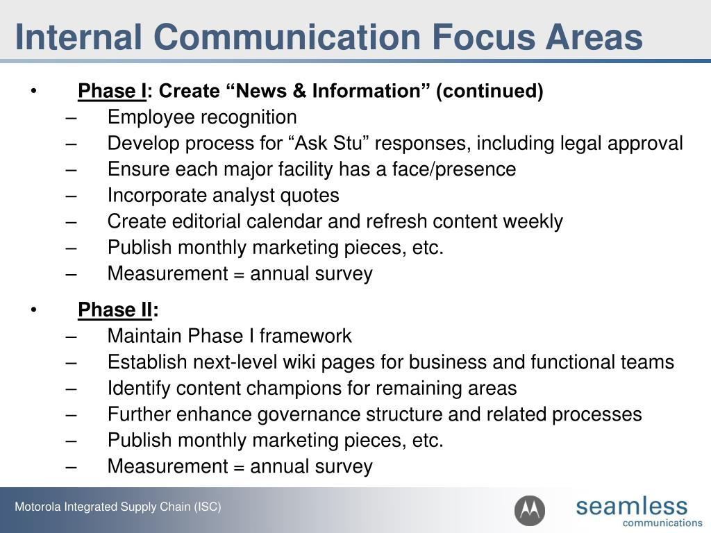 Internal Communication Focus Areas