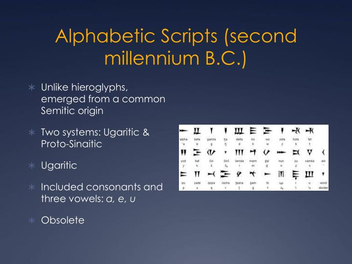 Alphabetic Scripts (second millennium B.C.)