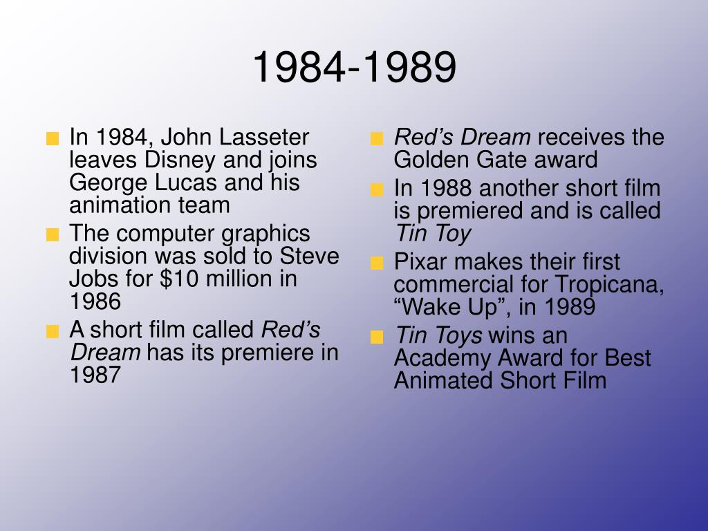 In 1984, John Lasseter leaves Disney and joins George Lucas and his animation team