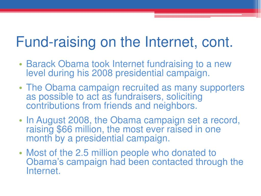 Fund-raising on the Internet, cont.