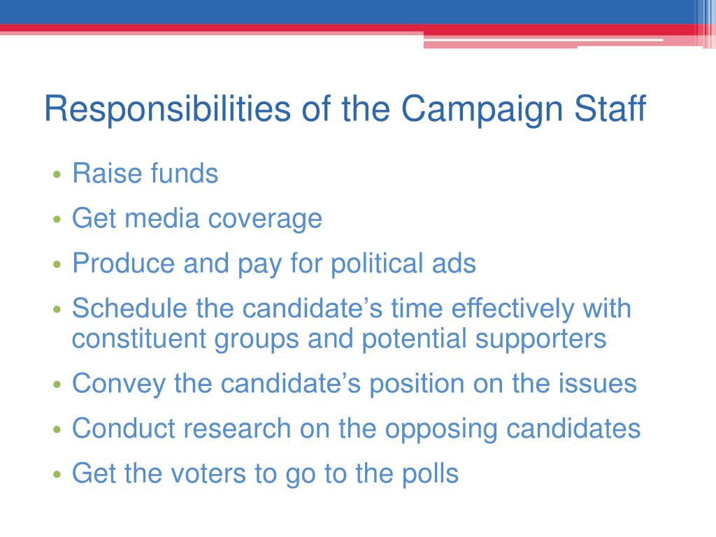 Responsibilities of the Campaign Staff