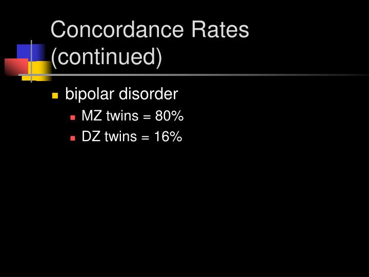 Concordance Rates (continued)