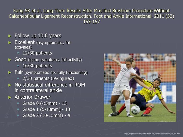 Kang SK et al. Long-Term Results After Modified Brostrom Procedure Without Calcaneofibular Ligament Reconstruction. Foot and Ankle International. 2011 (32) 153-157